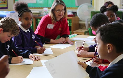 Gemma White QC with pupils of Snowsfields Primary School.